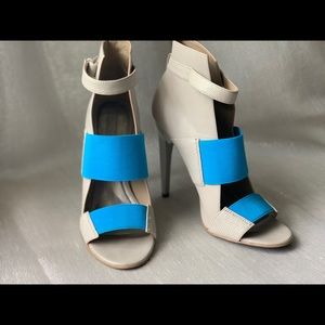 Grey & Aqua Blue With Touches of Snake Skin Heels